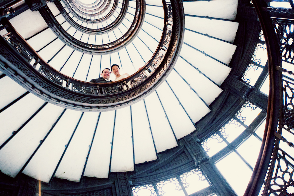 Architectural-photo-from-staircase-of-bride-and-groom-