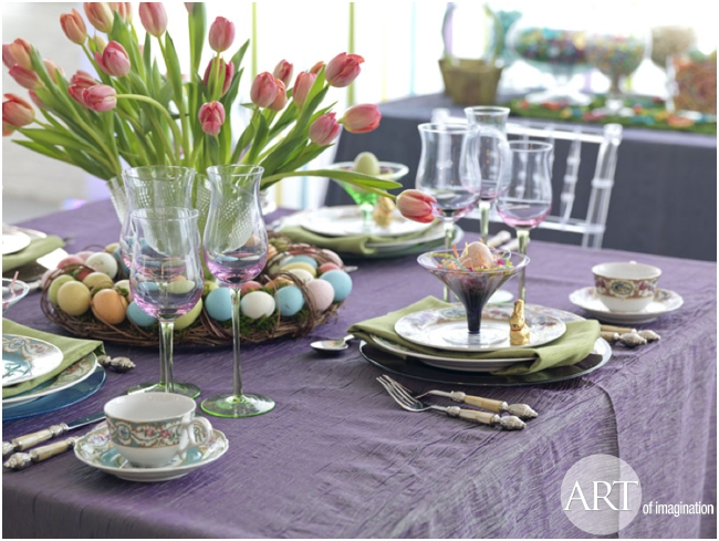 Easter table settings decor ideas art of for Easter dinner table setting ideas